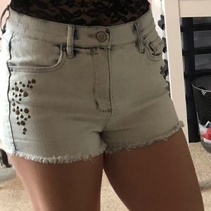 Pants - High waisted shorts with cute metal accents